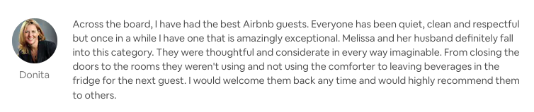 An example of a great Airbnb review from a wonderful host.