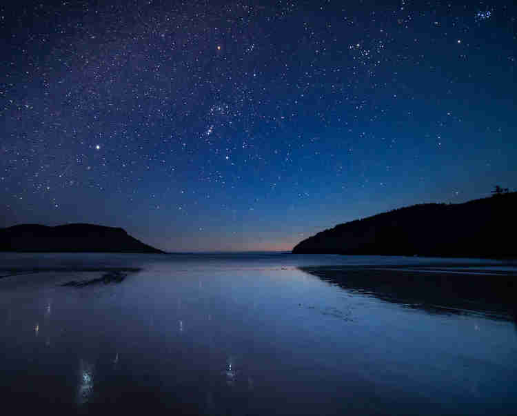 Stars at night in Cape Scott Provincial Park on Vancouver Island, Canada.