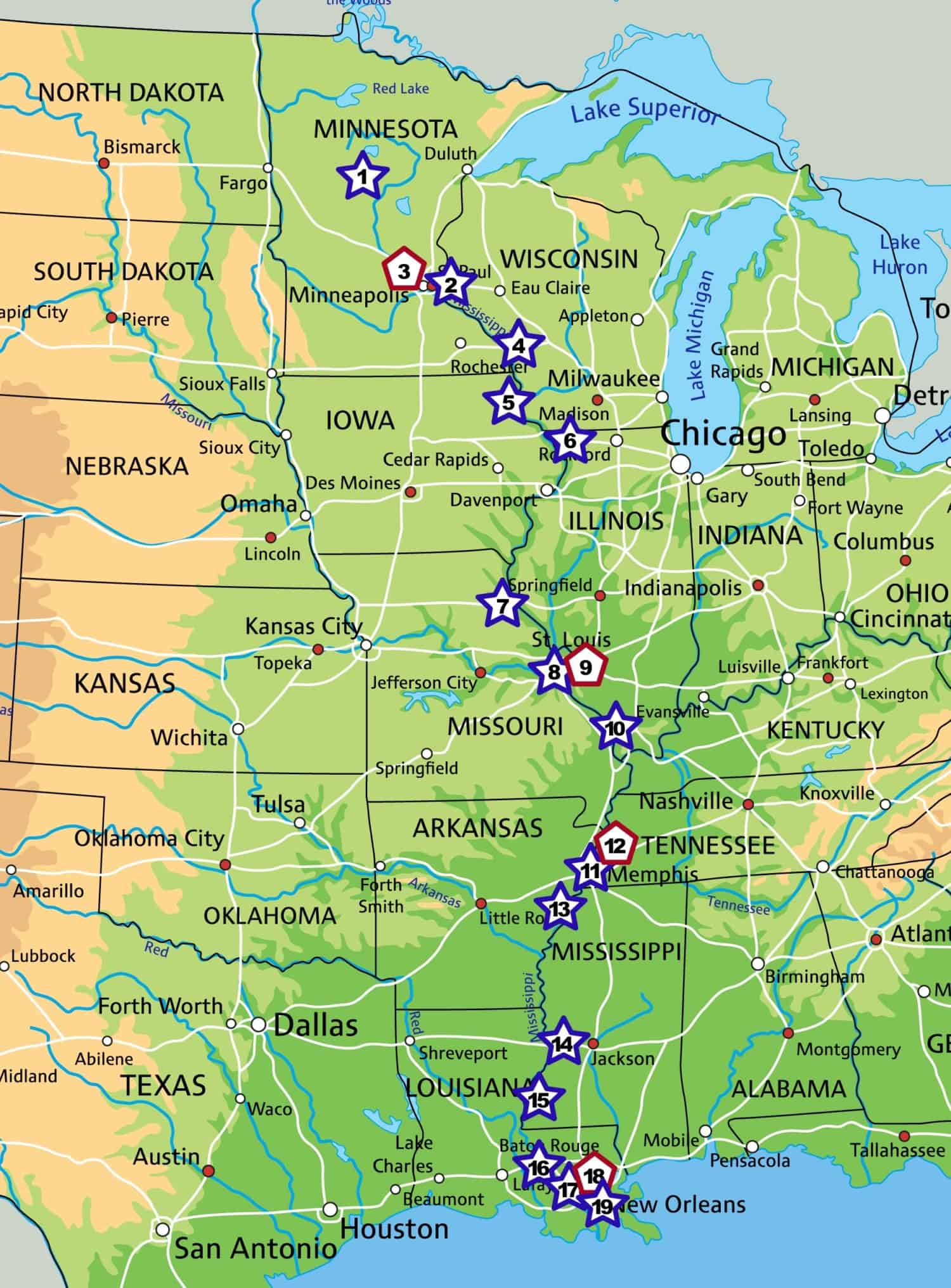 Road map showing pet stops on Great River Road from Minneapolis, Minnesota to New Orleans, Louisiana