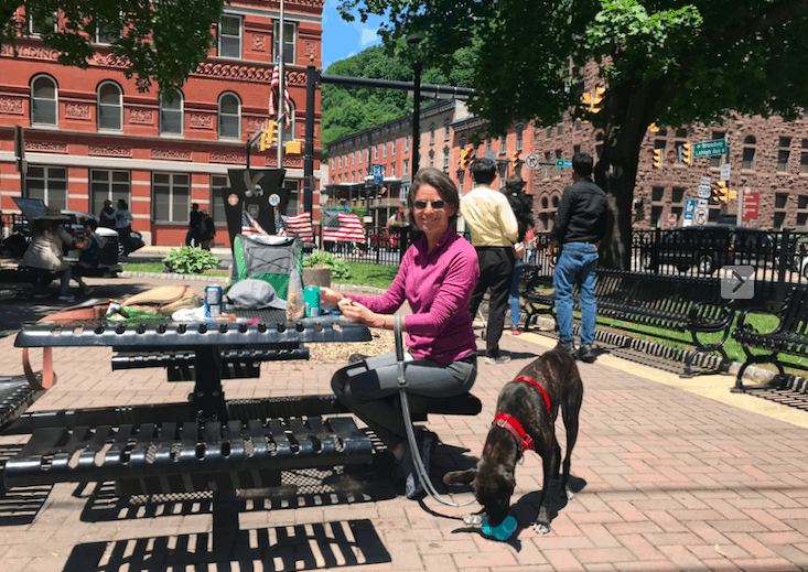 A woman with a tiger dog at a picnic table in Jim Thorpe, Pennsylvania