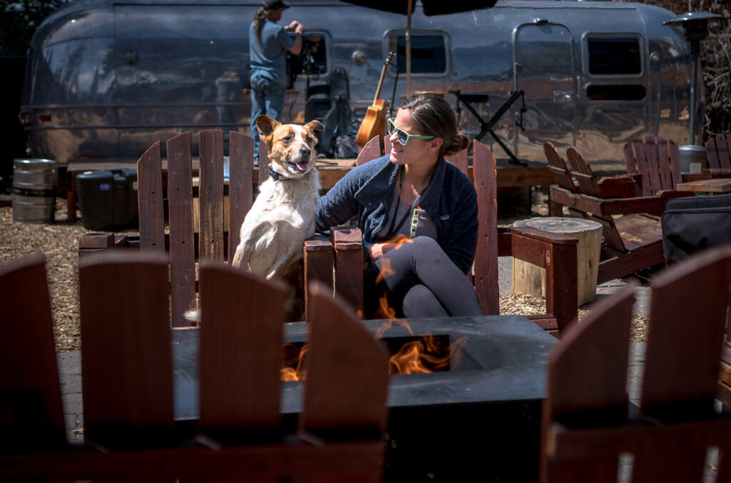 The beer garden at Basecamp South Tahoe is a great place to hang out with your dog and enjoy a beer while listening to music and playing lawn games.