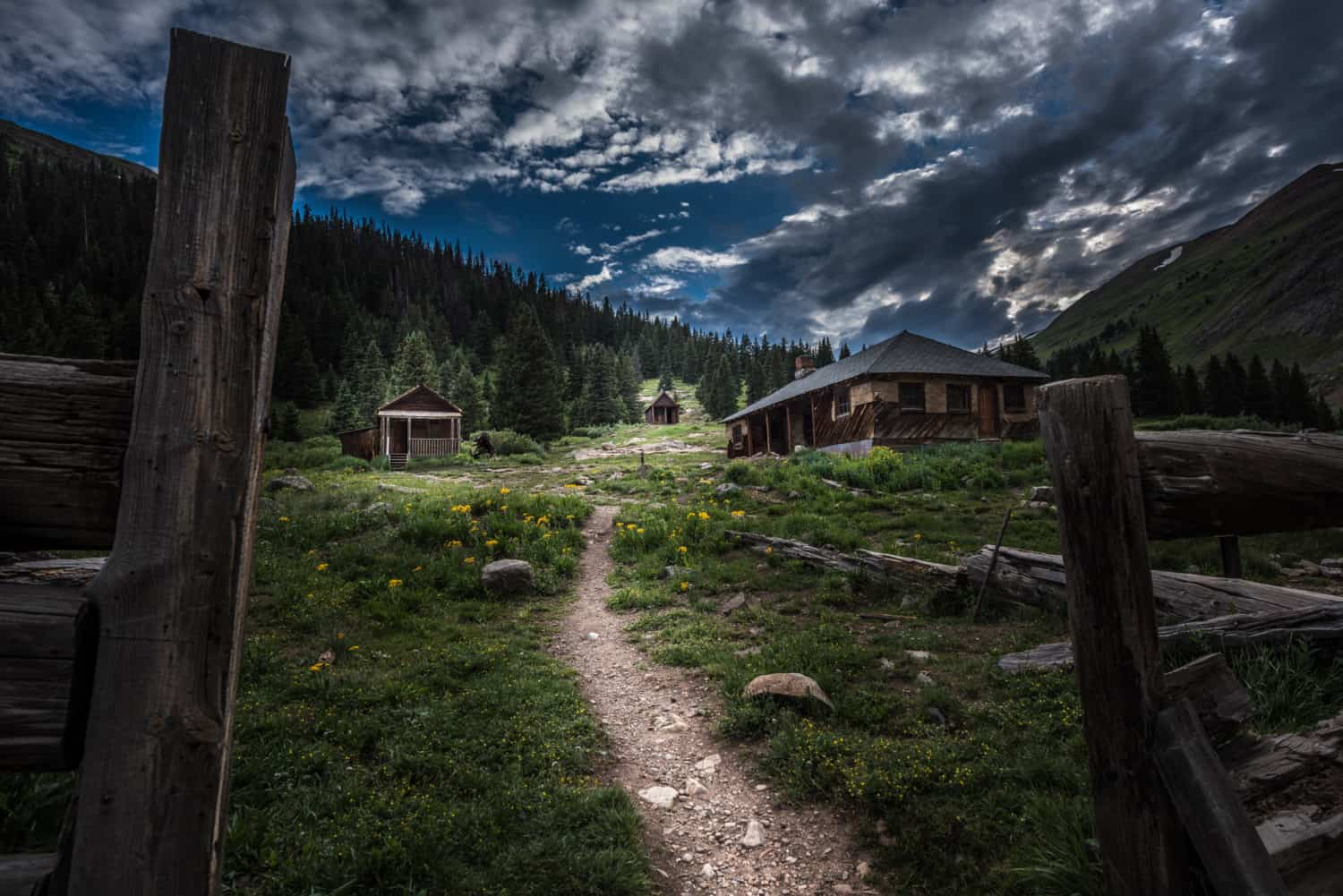 Night photo of the ghost town of Animas Forks on the Alpine Loop near Silverton, Colorado