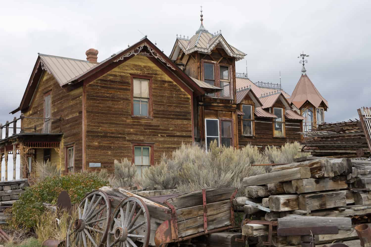 Abandoned wooden building in Nevada City Ghost Town, MT