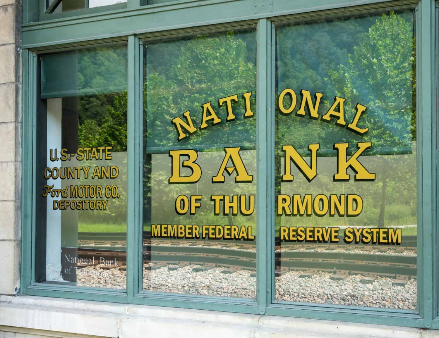 A window of the National Bank of Thurmond in the ghost town of Thurmond, WV